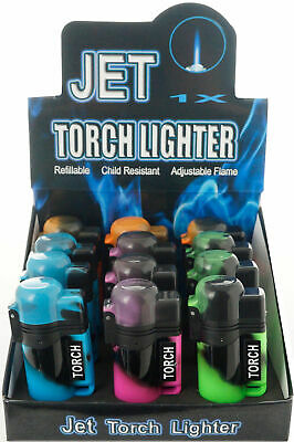 (12) Lot of 12 Side Torch Lighter Adjustable Windproof Butane Refillable 9474NE