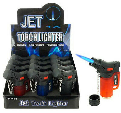 (12) Lot of 12 Side Torch Lighter Adjustable Windproof Butane Refillable 9474M