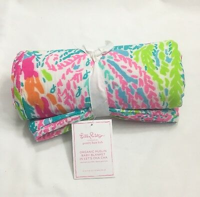 New Lilly Pulitzer Pottery Barn Muslin Baby Blanket Let's Cha Cha Cotton Coral