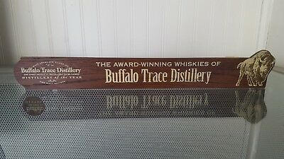 Rare Buffalo Trace Bourbon Wooden Advertising Sign - Attaches to Shelf - Pappy