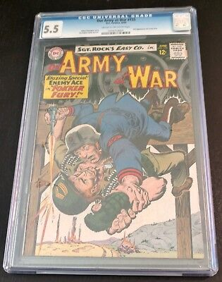 Our Army At War #155, CGC 5.5, Cream to Off-White Pages, 3rd Enemy Ace!