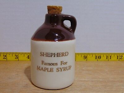 P.C.A. West Virginia Brown Jug With Cork Shepherd Famous For Maple Syrup 5""