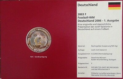 FIFA 2006 WORLD CUP GERMANY ORIGINAL SILVER COIN, NEW - 1st EDITION 10 EURO