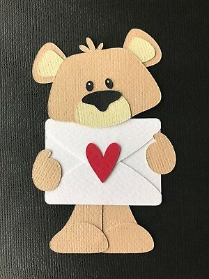 BEAR HOLDING AN ENVELOPE fully assembled paper piecing / die cut