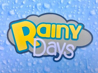 Fully assembled 'Rainy Days' scrapbook title