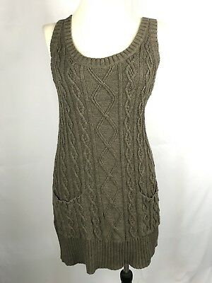 Rubbish Brown Cotton Cable Knit Sleeveless Sweater Tunic Top Dress