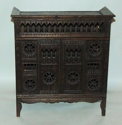 ANTIQUE FRENCH QUIMPER Carved Wood BRETON Doll Furniture CUPBOARD