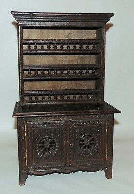 ANTIQUE FRENCH QUIMPER Carved Wood BRETON Doll Furniture CHINA CLOSET
