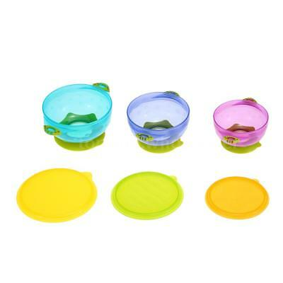 3x Colorful Suction Bowl Set Baby Feeding Toddler Stay Put Lids Spill Proof T2P4