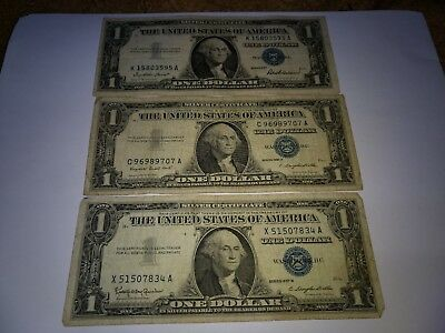 Set of 3 Blue Seal $1 Silver Certificate Notes - 1957, 1957 A, and 1957 B