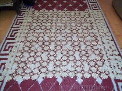 """Vintage Hand Crocheted TableCloth  63"""" Square"""