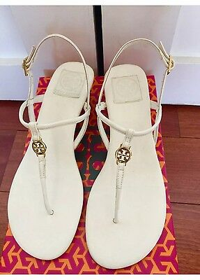 3cb5cdf4c26fbb NIB Authentic Tory Burch Emmy Demi Wedge Sandals in Bleach White Leather Sz  9.5