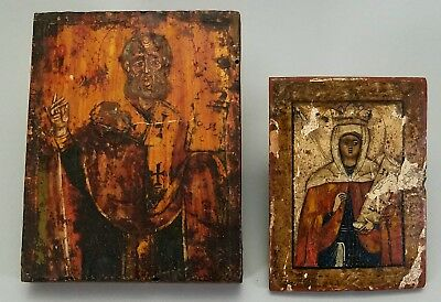 Two, Small Miniature Antique 19Th C Russian Icon Painted Wood Catholic Religious