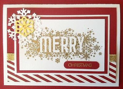 Handmade Christmas card: reverse 'Merry' with cherry red & gold.