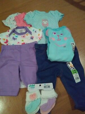 Baby Clothes- Girl-Newborn-3/6 Month Brand New - LOT OF 11 PIECES-A FEW OUTFITS