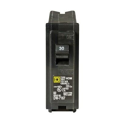 Square D Homeline 30 Amp Single-Pole Circuit Breaker Compatible Short Protection