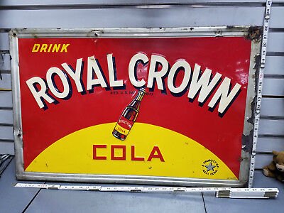 RC Royal Crown Cola 1940's Metal Embossed Sign Vintage Collectible 33x22 Soda