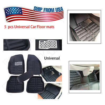 US 5pcs Universal Black Car Floor Mats FloorLiner Front Rear  All Season Carpet