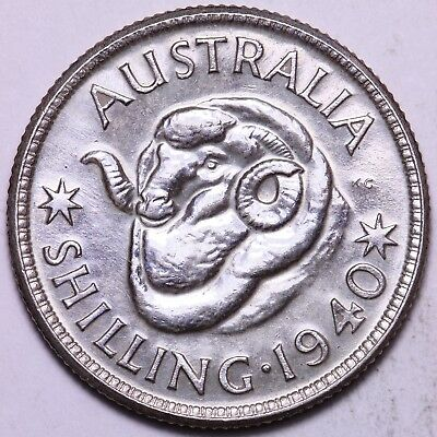 1940 Australia One Shilling Silver Coin #2 FREE S/H To USA