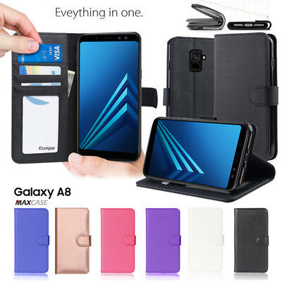 For Samsung Galaxy A8 (2018) Premium ID TPU Leather Phone Wallet Flip Case Cover