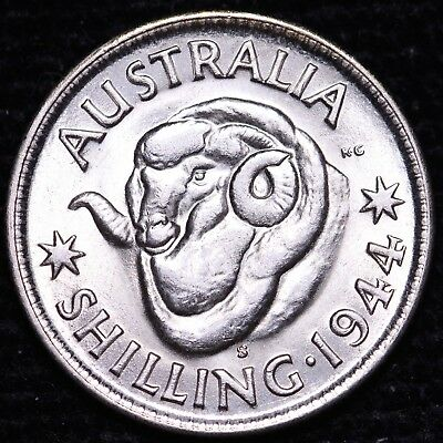 BU 1944-S Australia One Shilling Silver Coin FREE S/H To USA