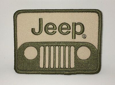 Jeep Patch. Made In Usa Iron On / Sew Off Road 4X4 Olive Drab On Tan
