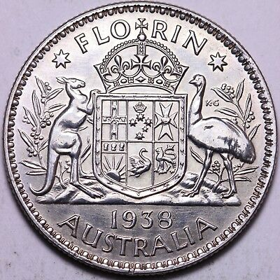 1938 Australia One Florin Silver Coin FREE S/H To USA