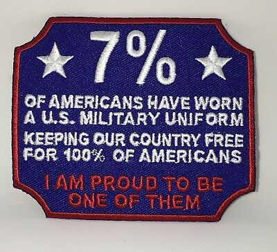 7% Proud Military Patch. Made In Usa. Keeping America Free