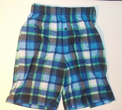 Cat & Jack Boys Sleep Pajama Shorts Blue Green Plaid Size M 8-10 VGUC