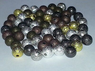 Wholesale 8MM Mixed Color Stardust Beads Round Spacer Loose Beads 50pc. New