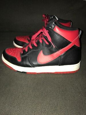brand new 13b73 d9a33 Nike Dunk High Tops Black and Red Men's Shoes Swoosh Great Condition Size 10