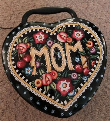 Mary Engelbreit Mom Tin Heart Shaped Box Container with Handle 2000 NEW w/ tags