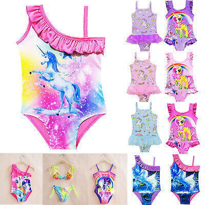 Kids Baby Girls Unicorn Cartoon Tutu Swimwear Swimsuit Bathing Bikini Beachwear