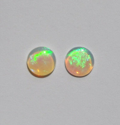 NATURAL SOLID WHITE / LIGHT 0.67CT 6mm AUSTRALIAN OPAL LOOSE STONE 2 PIECES
