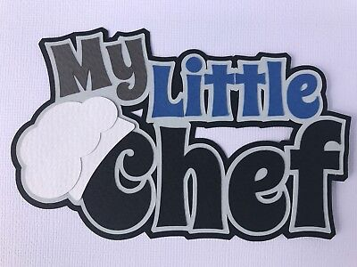 Fully assembled 'My Little Chef' blue scrapbook title