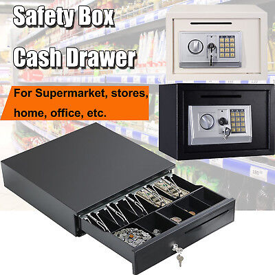 Cash Money Drawer 5 Bills 5 Coins,High Security Money Cash Safety Deposit Box