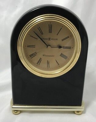 Vintage Clock Howard Miller Westminster Brass Mantle Desk Top Table Black Shelf