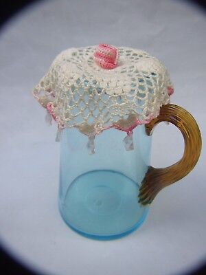 Antique Blue Water/ Milk  Glass Jug w Amber Glass Handle -& Dollies 1900's