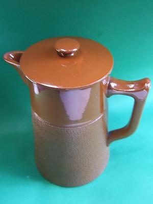 Antique Australian Pottery R. Fowler Large Brown Coffee Jug w Top 1920's