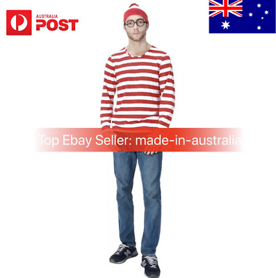 Wheres Wally Costume Outfit Adult Man Halloween Dress UP Party TOP+HAT+GLASSES