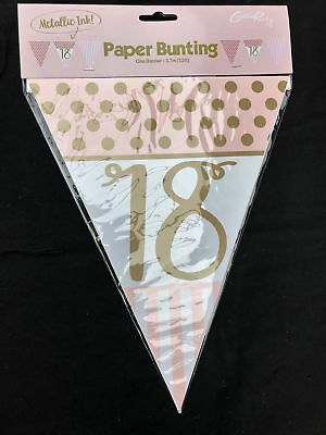 18th Birthday Pennant Flag Banner Pink Gold Party Decorations Age 18 Bunting