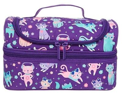 "💜RARE! 🐈SMIGGLE🐈 Girl's Double Decks Lunch Box Lunchbox ""Snaps"", CATS"