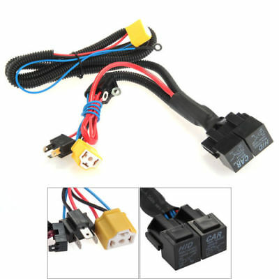 H4/9003 Ceramic Fused Socket Relay Wiring Harness Headlight Bulb Booster Wire