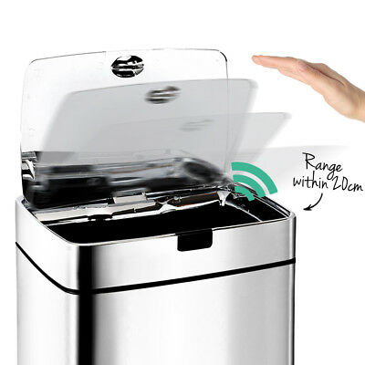 45L Automatic Motion Sensor Rubbish Bin Hands Free Waste Basket Trash Can