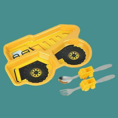 Kids Construction Dump Truck Dinner Plate Meal Set