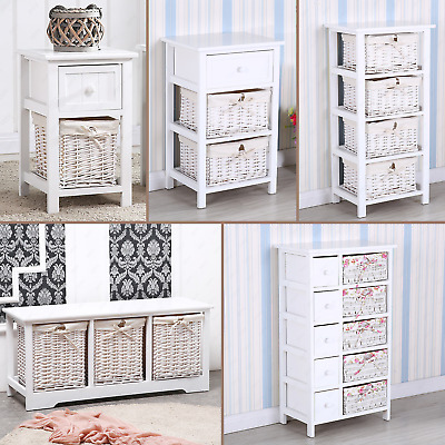 1/2/3/4/5 Shabby Chic Wicker Basket Storage Bedside Chest Cabinet Wooden Units