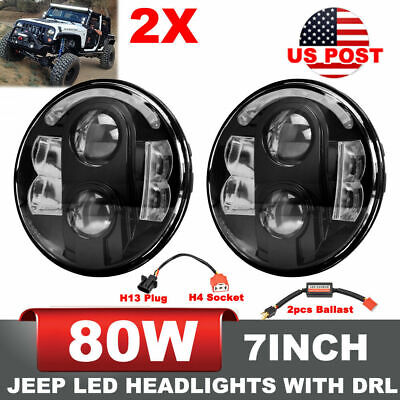 Jeep Wrangler JK 2Pcs 7Inch 80W Cree LED Headlight Projector w/ DRL Hi/Low Beam