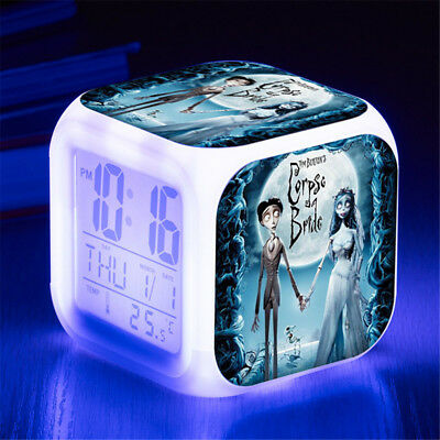 Corpse Bride 7 Color Change Alarm Clock Digital Glowing Night Light for Kids