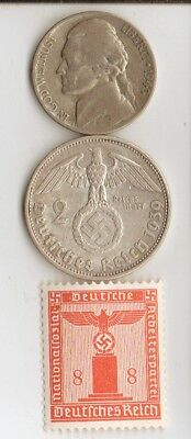 *antiques-*WW2-silver *us Nicke and-*german coin/stamp+*free Peyton Manning card