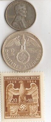 -antiques-*WW2- Steel *us Penny and-*german coin/stamp+*free Peyton Manning card